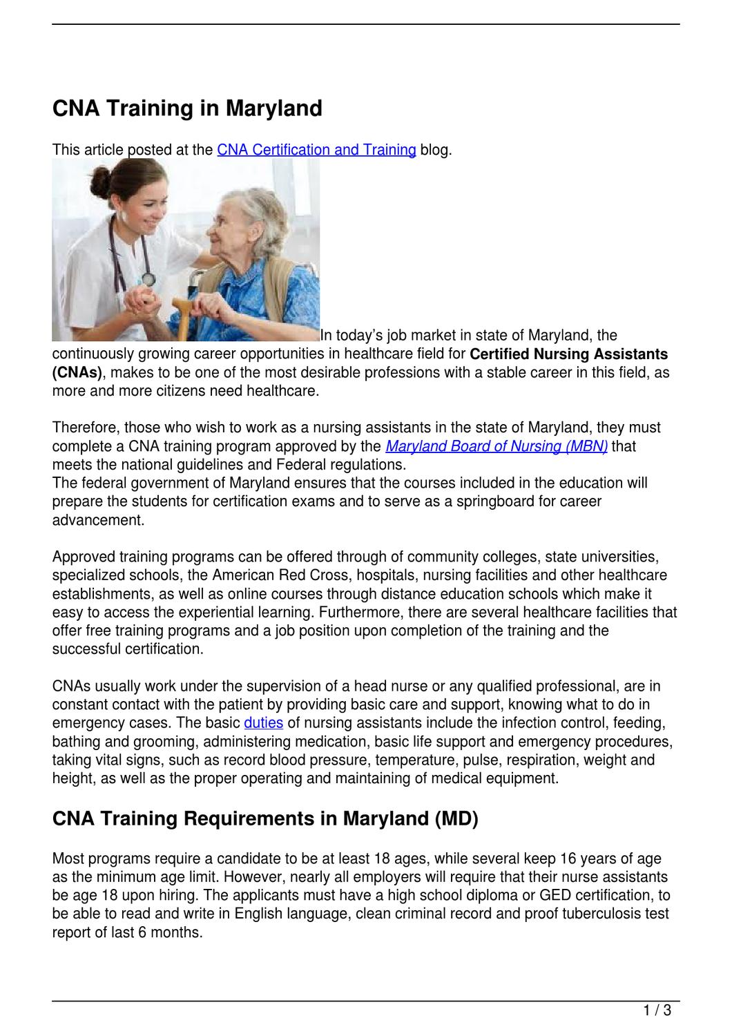 Cna training in maryland by becky vallejo issuu xflitez Image collections