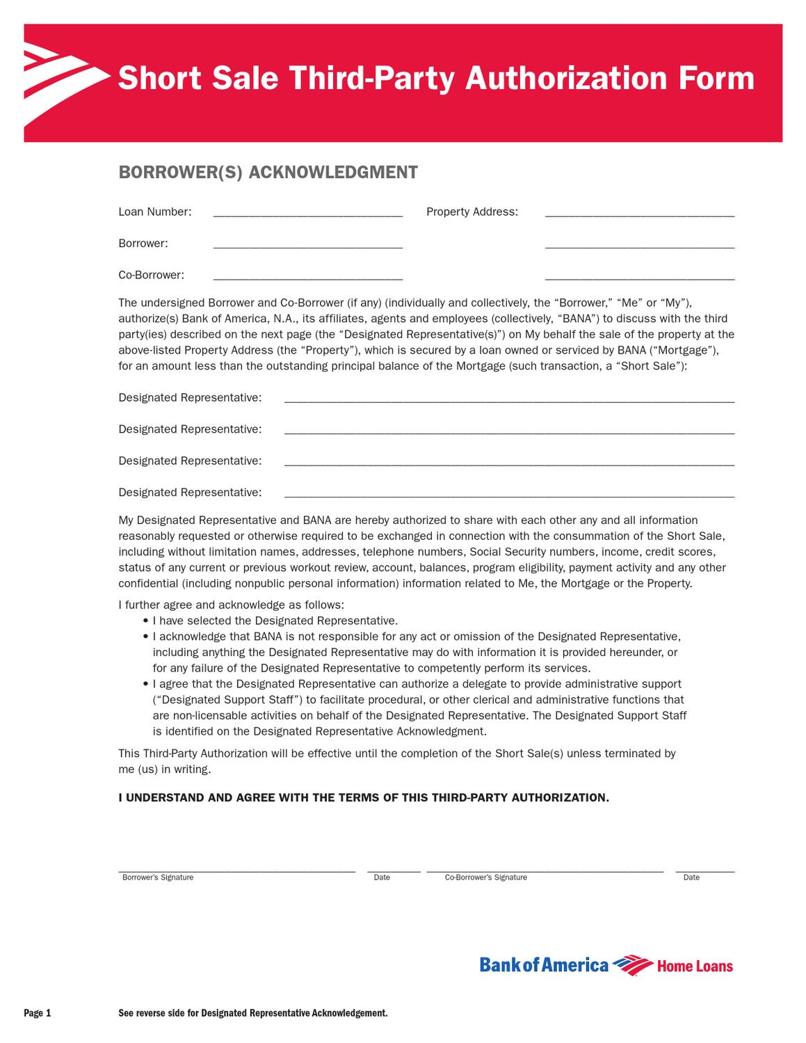 bank of america authorization to release information form short sale