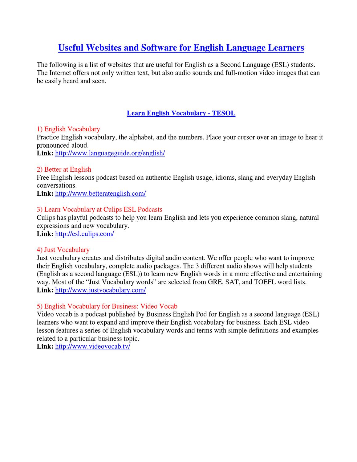 Useful ESL Websites by Usefuleslwebsites Usefuleslwebsites - issuu
