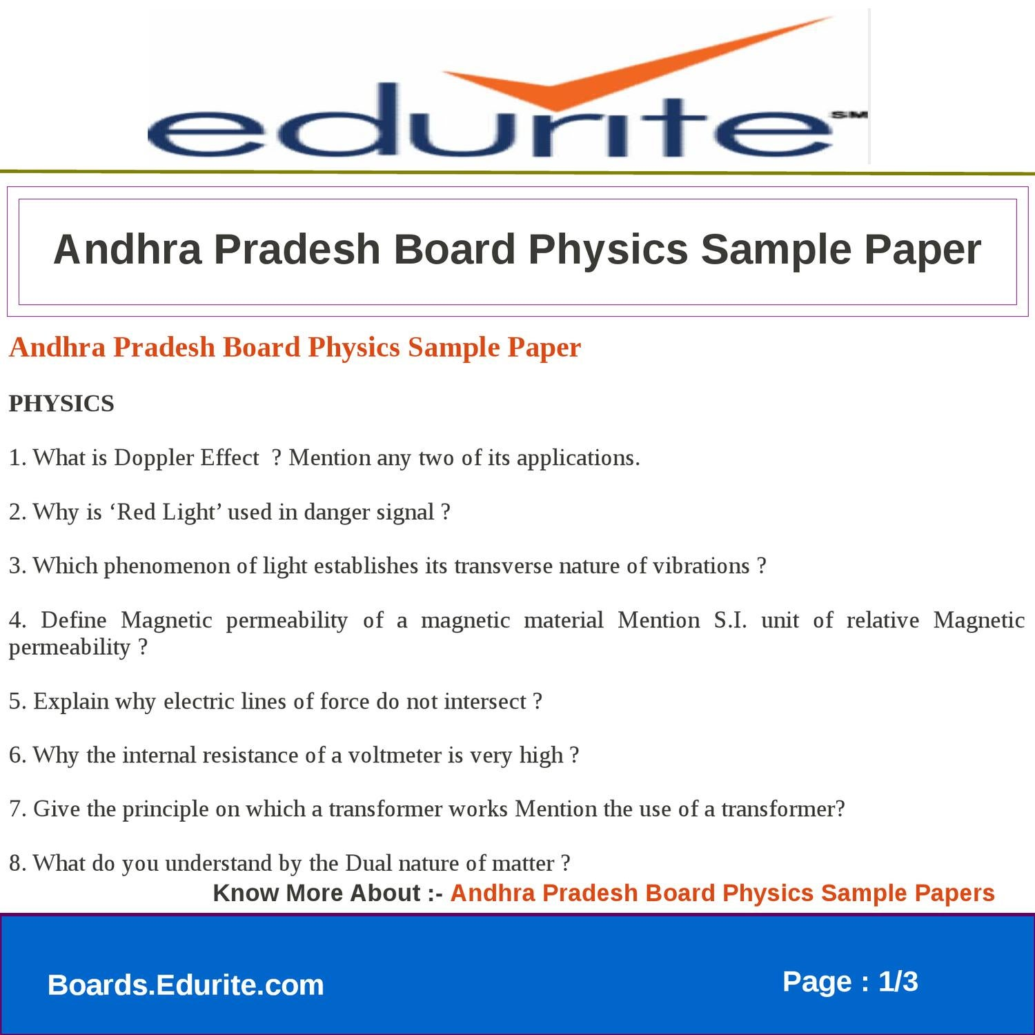 Andhra Pradesh Board Physics Sample Paper by edurite team - issuu