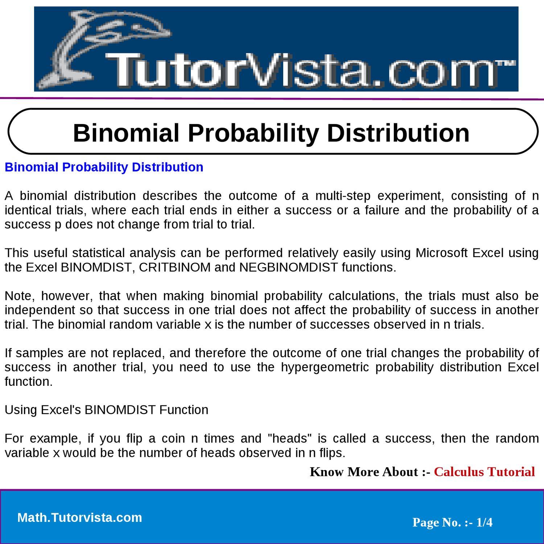 Binomial Probability Distribution by vista team123 - issuu