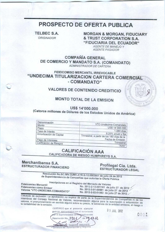 Prospecto titularizaciones Comandato by Bolsa de Valores de Quito ...