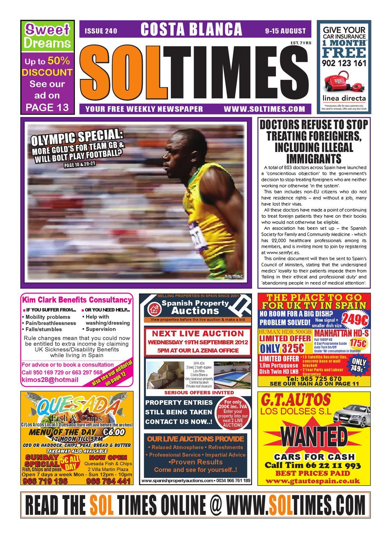 Sol Times Newspaper Issue 240 Costa Blanca Edition By Nigel Judson  # Muebles Laura Santomera