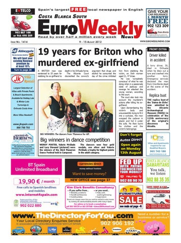 Costa Blanca South 9 – 15 August 2012 Issue 1414 by Euro Weekly News