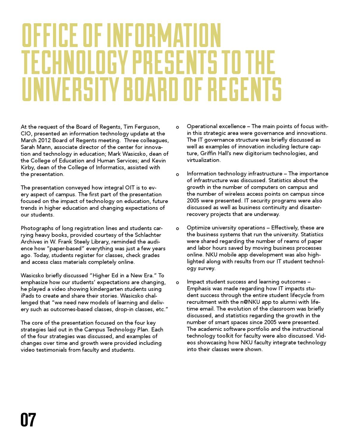 Nku Office Of Information Technology 2011 2012 Annual Report By Nku