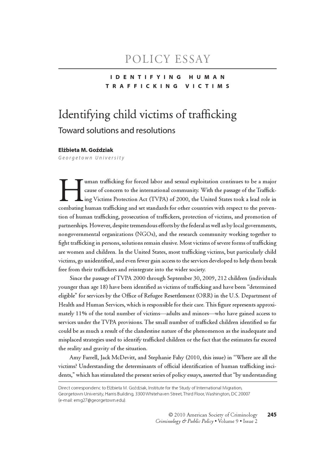 human trafficking: solutions essay An examination of the issues and challenges of trafficking bring us face to face with the stark reality of the situation hordes of women an.