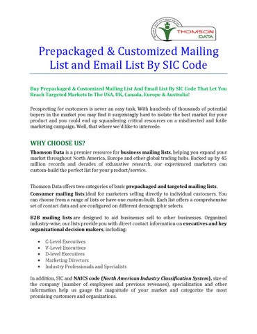 Prepackaged & Customized MailingList and Email List By SIC Code by
