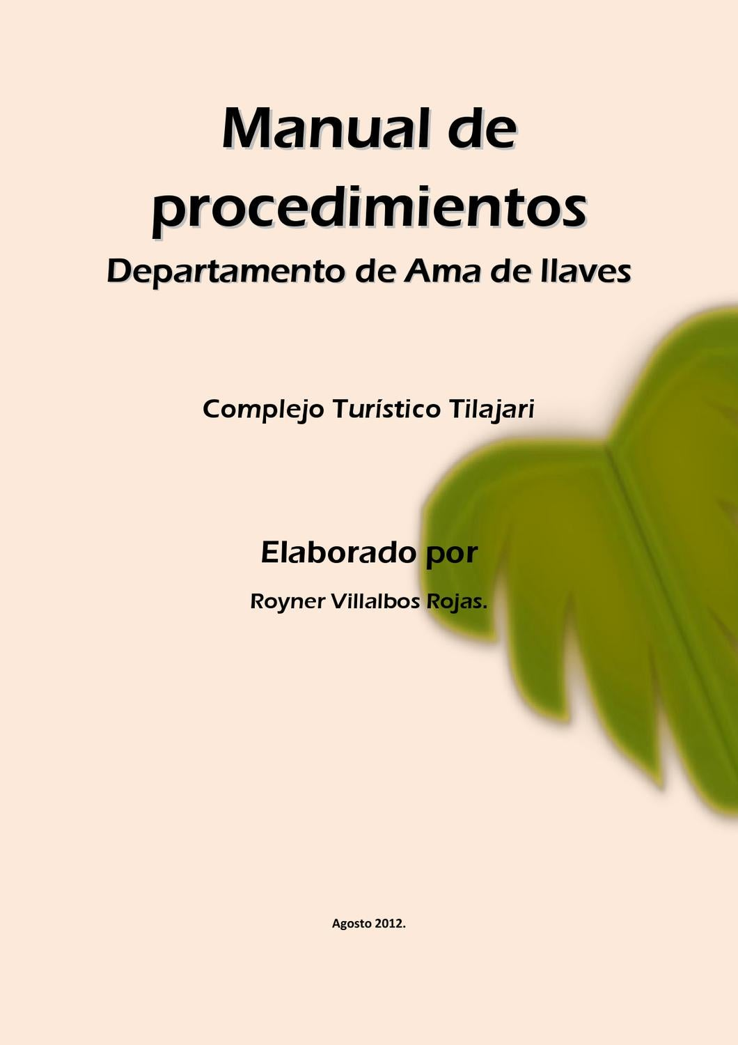 Manual de procedimiento del departamento de ama de llaves for Manual de compras de un restaurante pdf