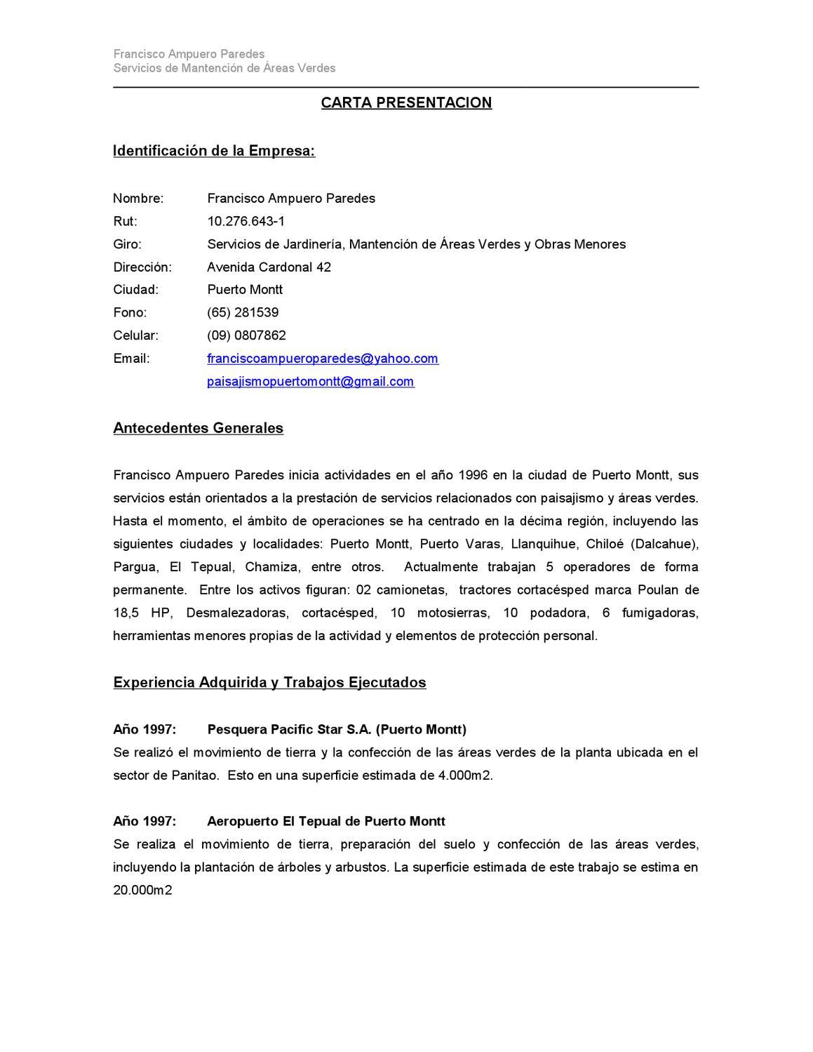 Carta Presentacion Paisajismo Y Areas Verdes Puerto Montt By