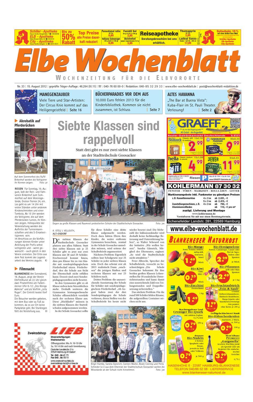 Elbvororte KW33 by Elbe Wochenblatt Verlagsgesellschaft mbH & Co.KG - issuu