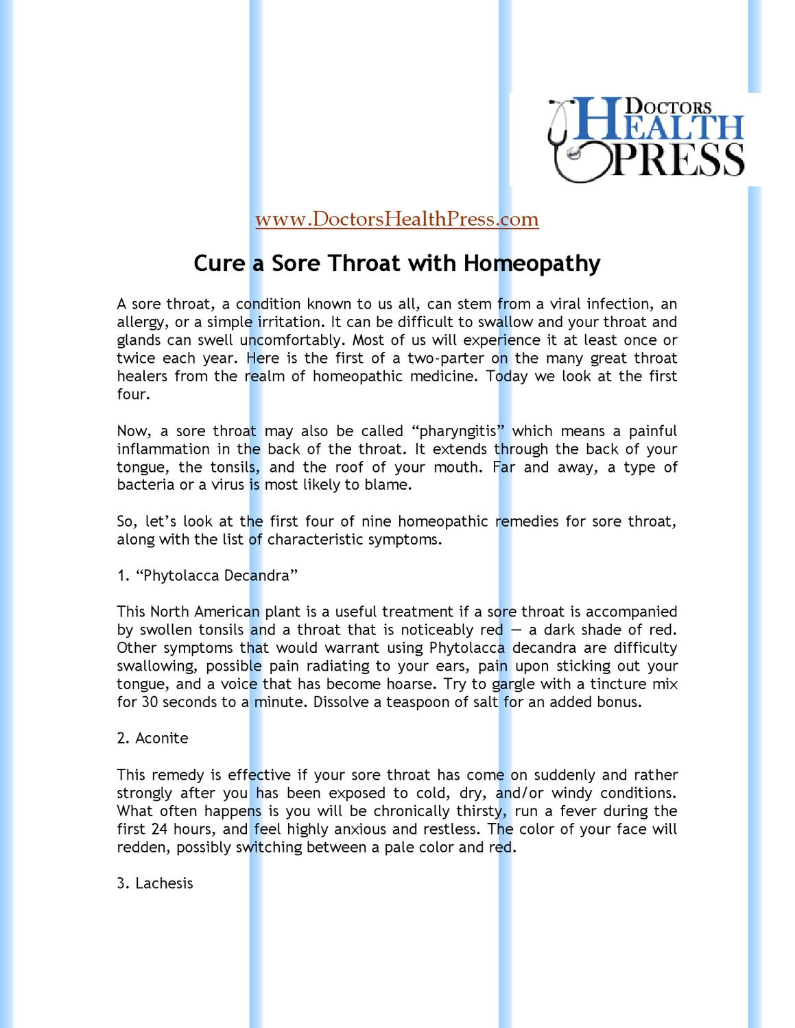 Cure a Sore Throat with Homeopathy by Doctors Health - issuu