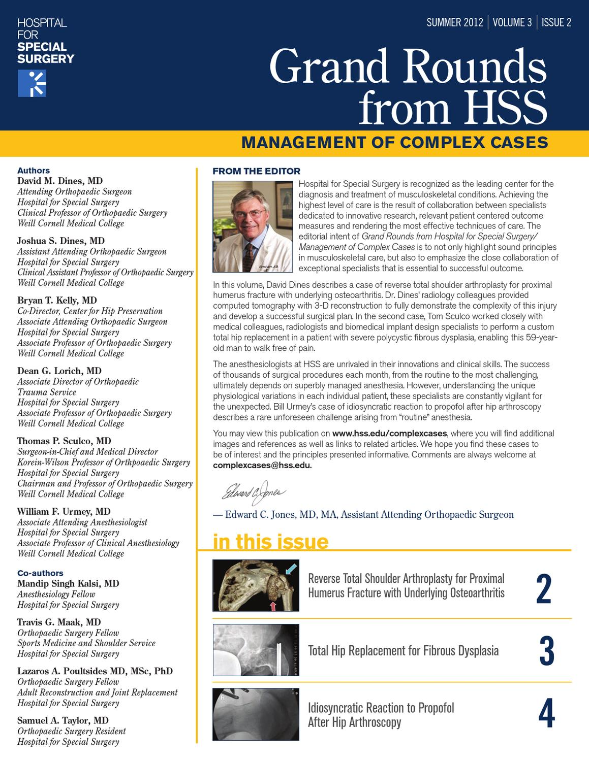 Grand Rounds from HSS - Summer 2012 - Volume 3, Issue 2 by Hospital