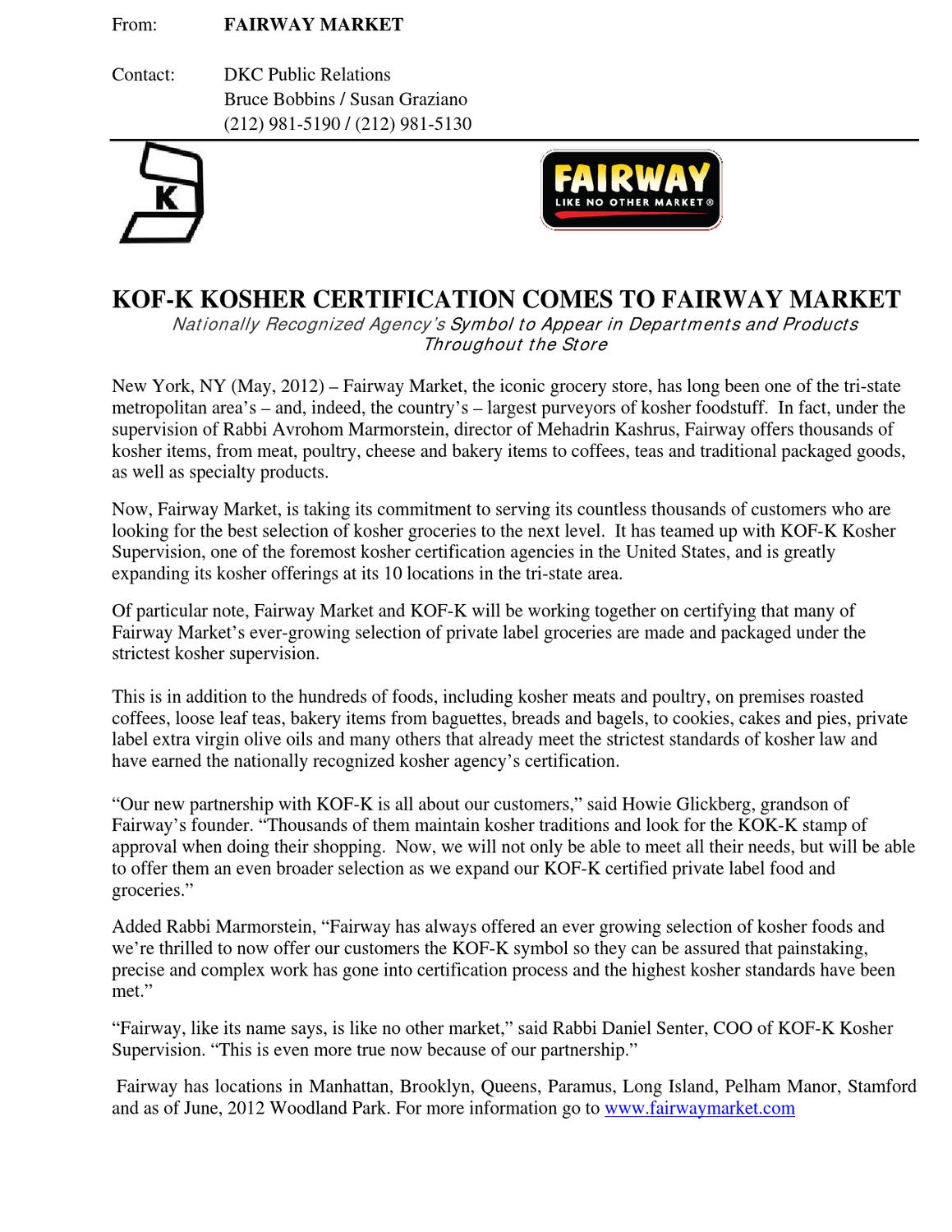 Kof kkoshersupervision by fairway market issuu buycottarizona Choice Image