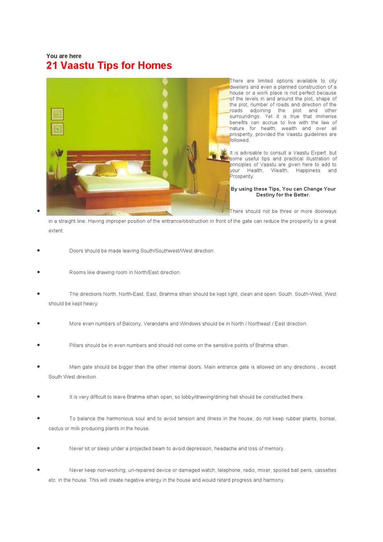 Vasthu - 21 Vaastu Tips for Homes , 19p by Vaszati Shastra - issuu