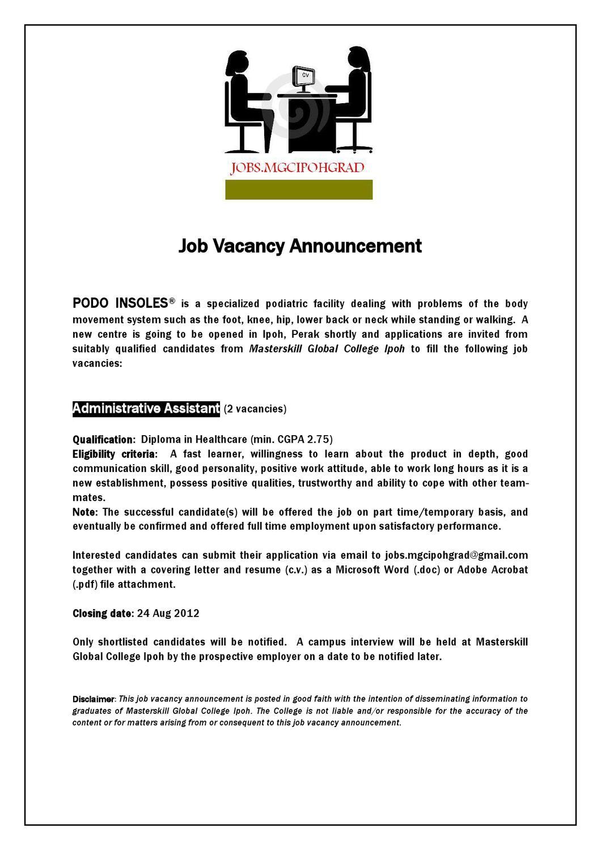 Job Vacancy Announcement 1 2012 By Ramanathan Narayanan Issuu