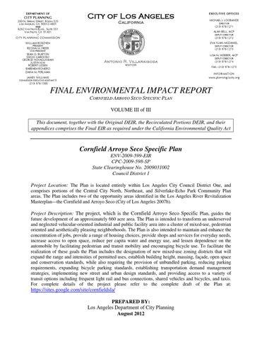 CASP-FEIR Volume III of III by Los Angeles Department of City ...