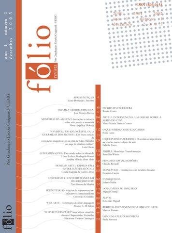 97620c6699103 ISSN 1806-0153 Revista do Curso de Especialização em Artes Plásticas e  Contemporaneidade da Escola Guignard - UEMG. dezembro de 2003