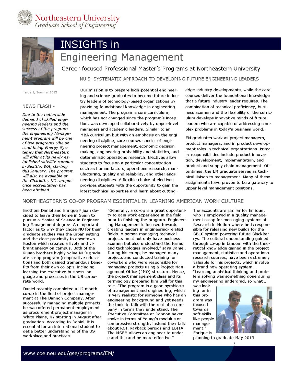 Engineering Management July 2012 Newsletter By Sara Wadia Fascetti