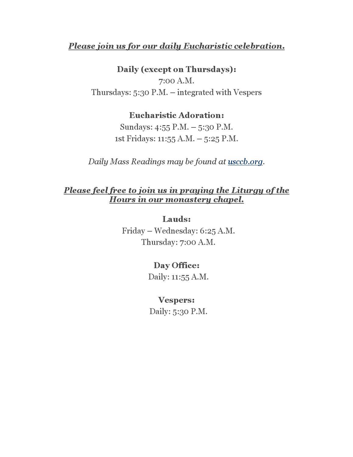 Immaculata Monastery Prayer Schedule by Melissa Haen - issuu