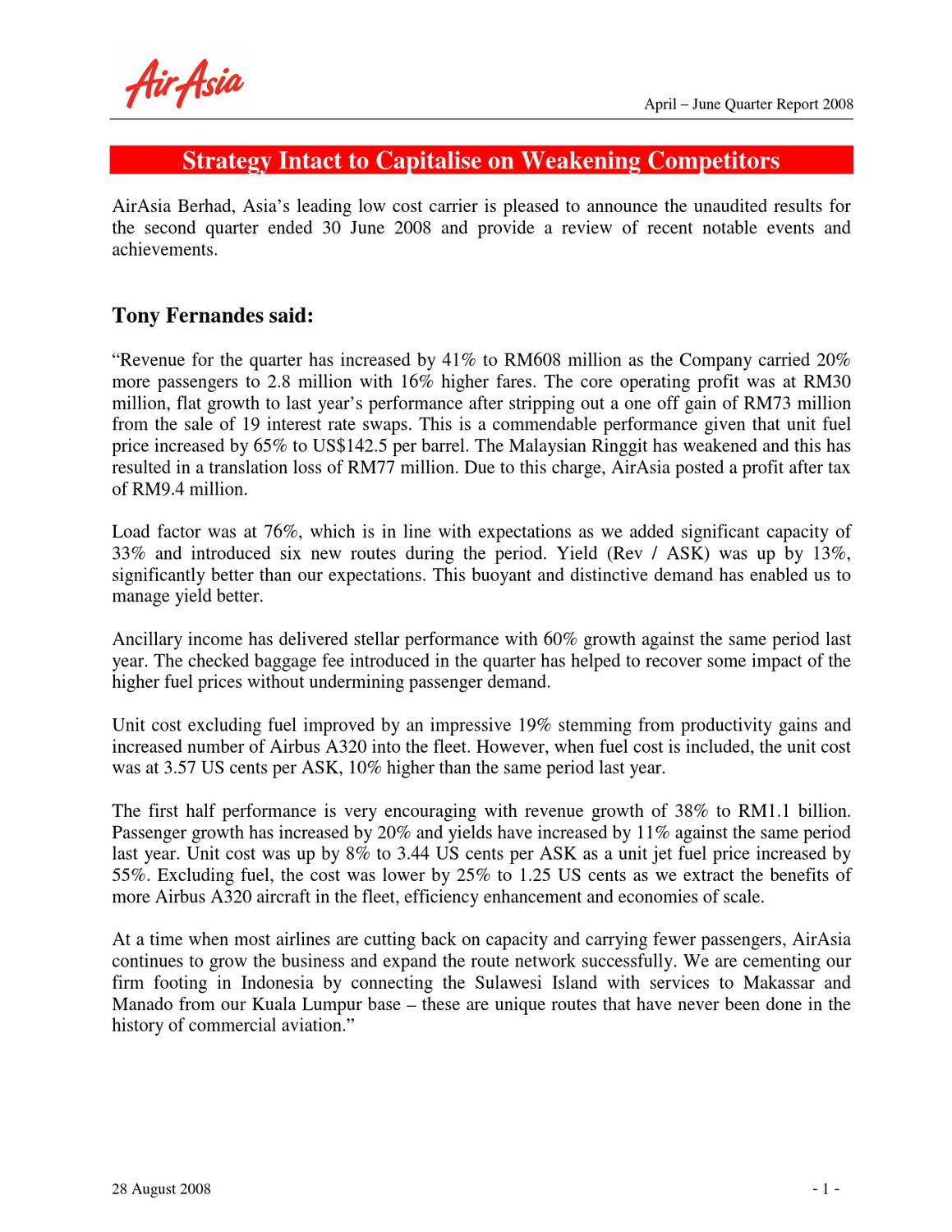 23d1cd22b1 AA 2Q08 Press Release by AirAsia Berhad - issuu