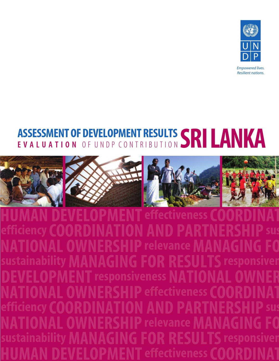 assessment of development results sri lanka by undp