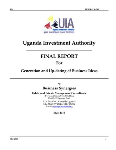 Business Investment Opportunities In Uganda By Ultimate