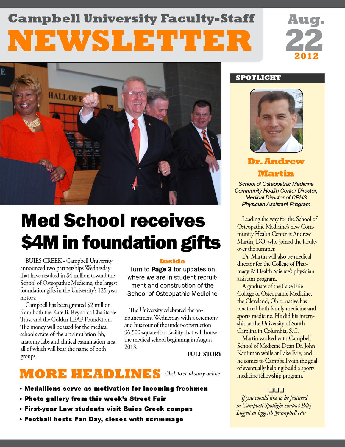 Campbell Newsletter Aug  22 by Campbell University - issuu