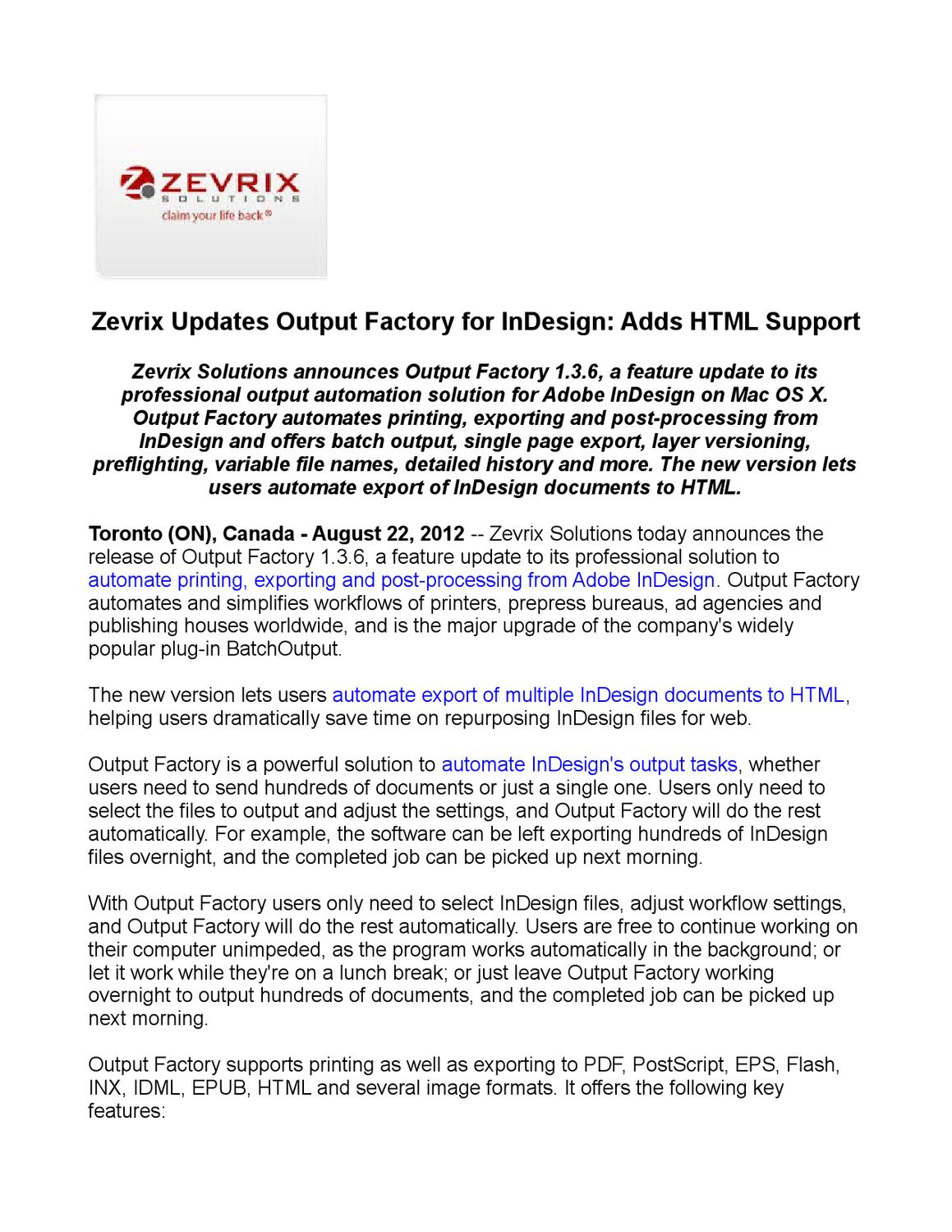 Zevrix Updates Output Factory for InDesign: Adds HTML
