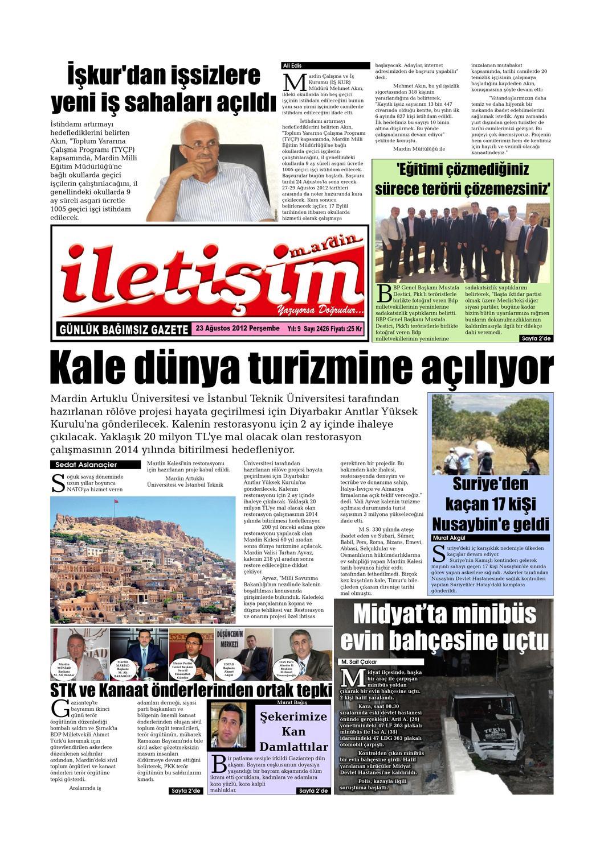 23 Agustos 2012 Persembe By Mardin Iletisim Gazetesi Issuu