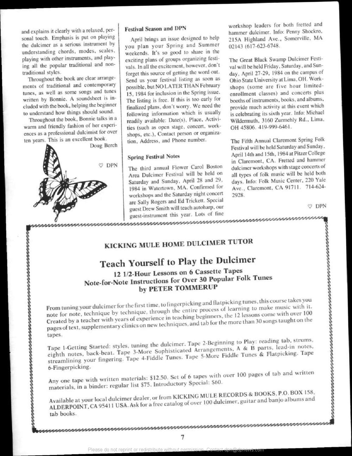 1984-01, Dulcimer Players News Vol  10 No  1 by Dulcimer Players