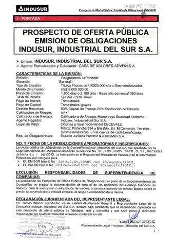 Primera Emisin Obligaciones INDUSUR by Bolsa de Valores de Quito ...