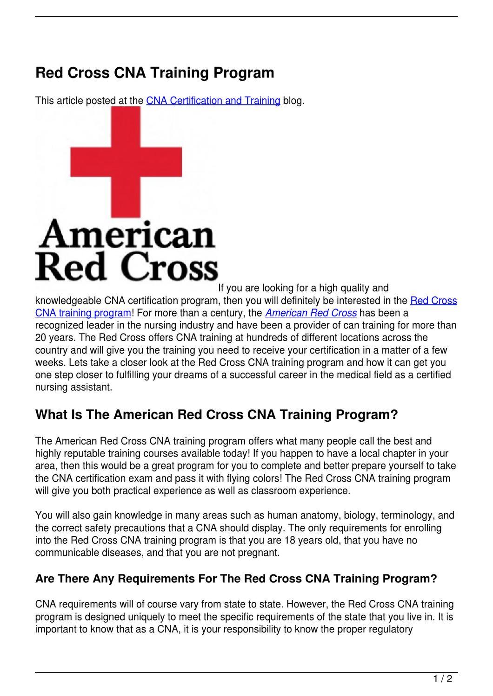 Red Cross Cna Training Program By Becky Vallejo Issuu