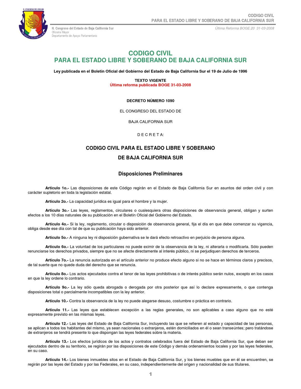 Codigo Civil Para El Estado Libre Y Soberano De Baja California  # Codigo Civil Muebles E Inmuebles
