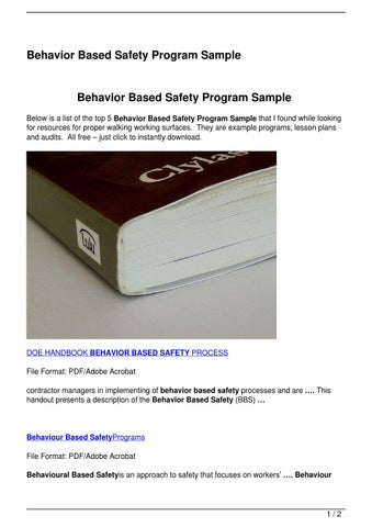 Behavior Based Safety Program Sample By Joe Tav  Issuu