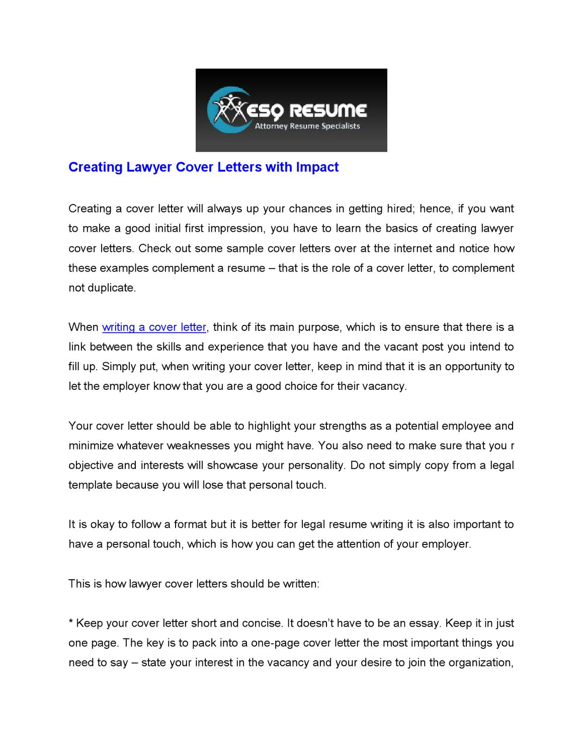 Creating Lawyer Cover Letters With Impact By Craig Owen Issuu