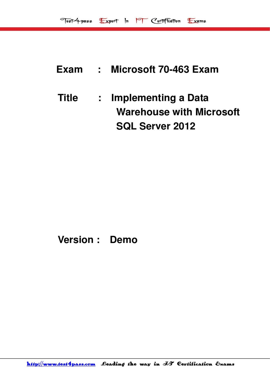 Test4pass Microsoft Test 70 463 Exam Dumps Free 4shared By Tonic