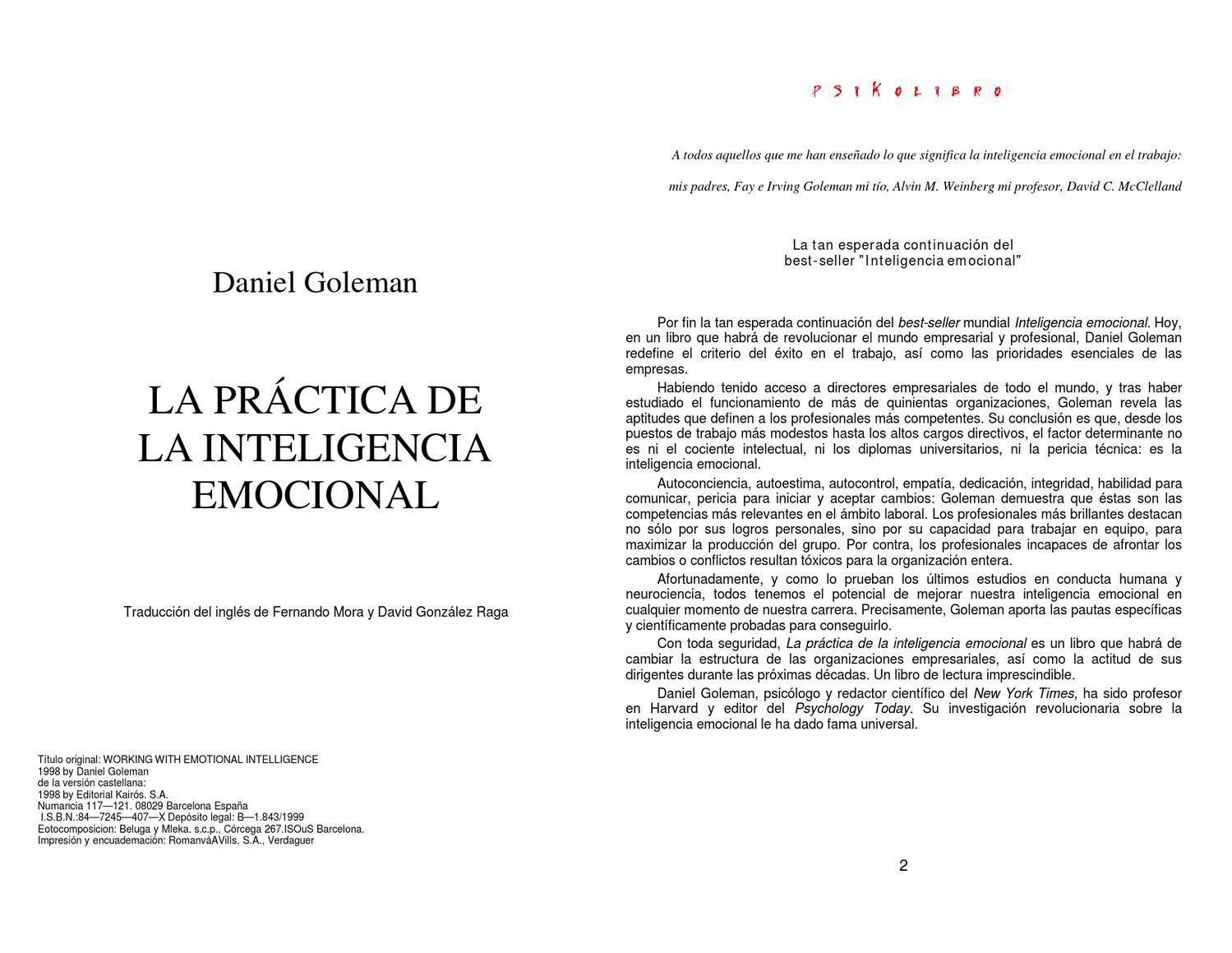 Daniel Goleman - La inteligencia Emocional en la Practica by ...