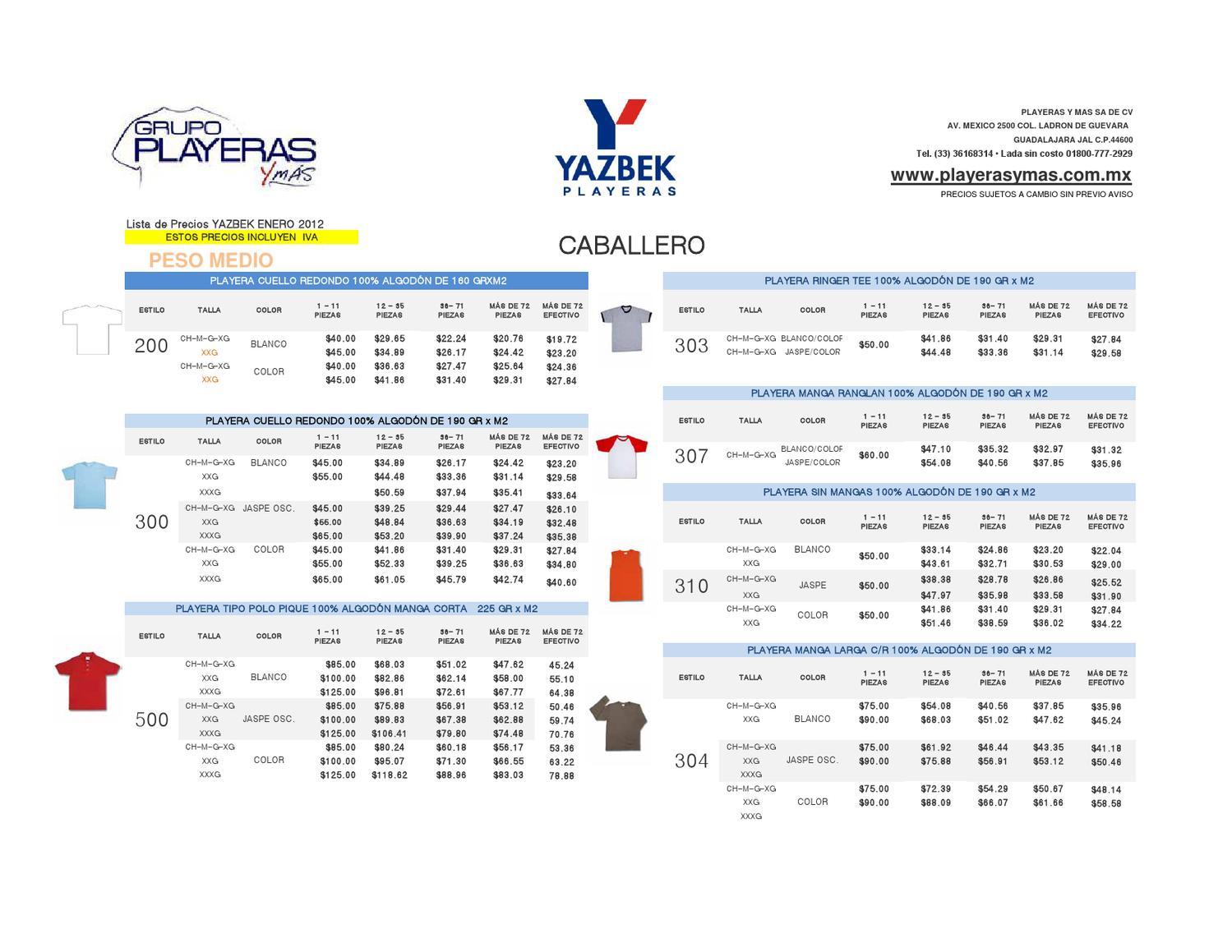 f25804c018cd0 Lista de Precios Playeras Yazbek 2012 by Playeras y más Vallarta - issuu.  Lista de Precios Playeras. Playeras Yazbek Niño Blanca -   31.00 en Mercado  Libre