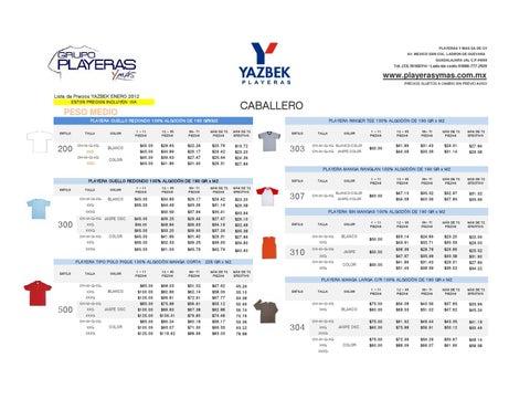 Lista de Precios Playeras Yazbek 2012 6691ccb1771