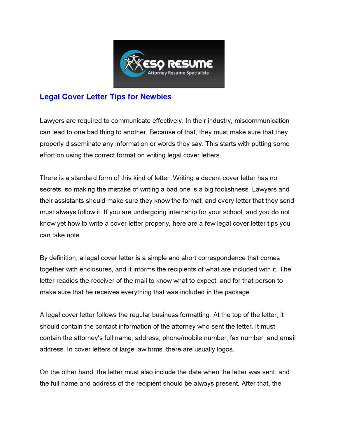 Legal Cover Letter Tips For Newbies By Craig Owen Issuu