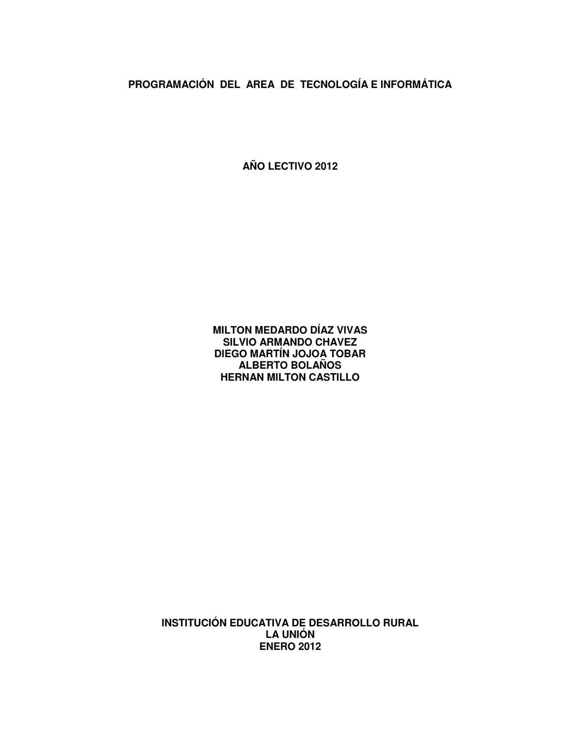 Plan de Àrea Tecnología e Informática by MILTON DIAZ VIVAS - issuu