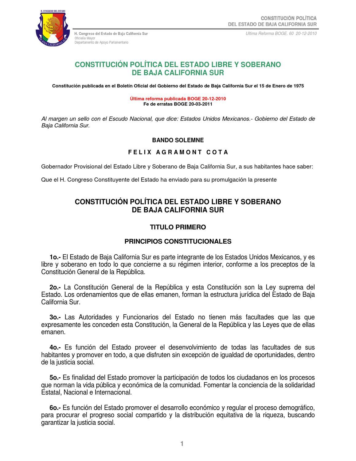 Constitucion Politica Del Estado De Baja California Sur By