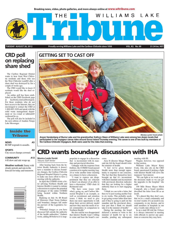 Williams Lake Tribune, August 28, 2012 by Black Press Media Group