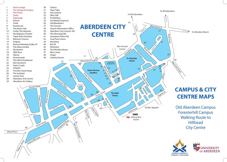 university of aberdeen campus map Aberdeen City Centre University Of Aberdeen Campus Maps By university of aberdeen campus map