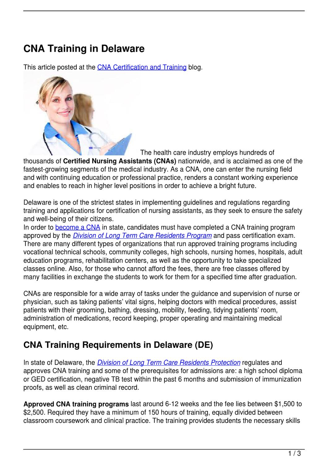 Cna training in delaware by becky vallejo issuu xflitez Gallery