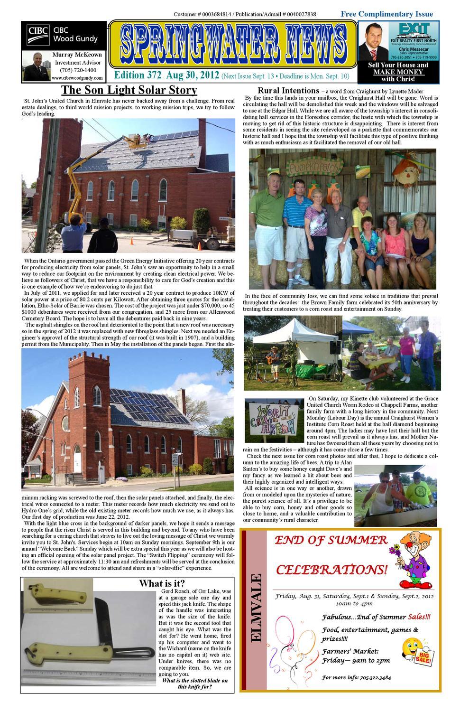 9b5bf84a35 Aug 30 2012 Edition 372 by Springwater News - issuu