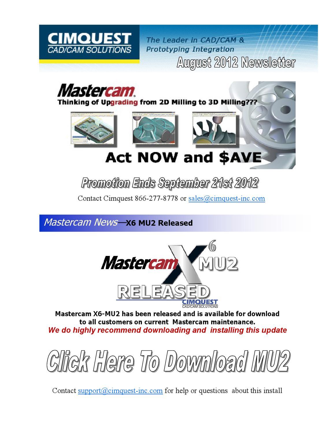Cimquest Mastercam Newsletter - August 2012 by Cimquest - issuu