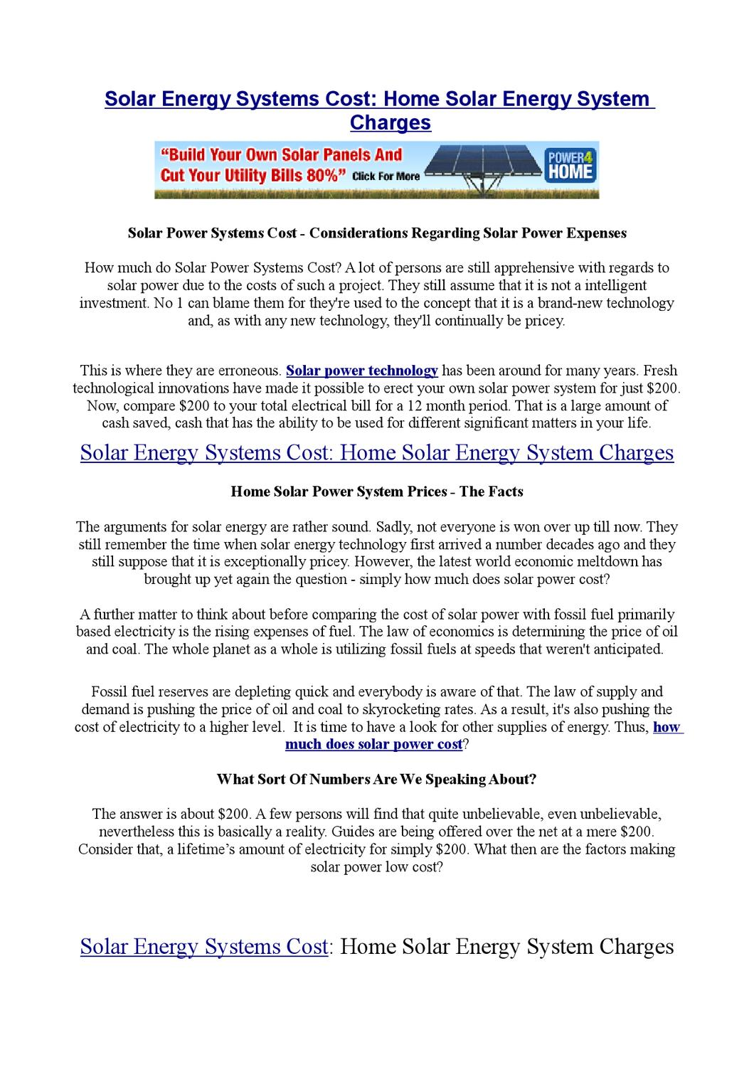 Solar Energy Systems Cost: Home Solar Energy System Charges