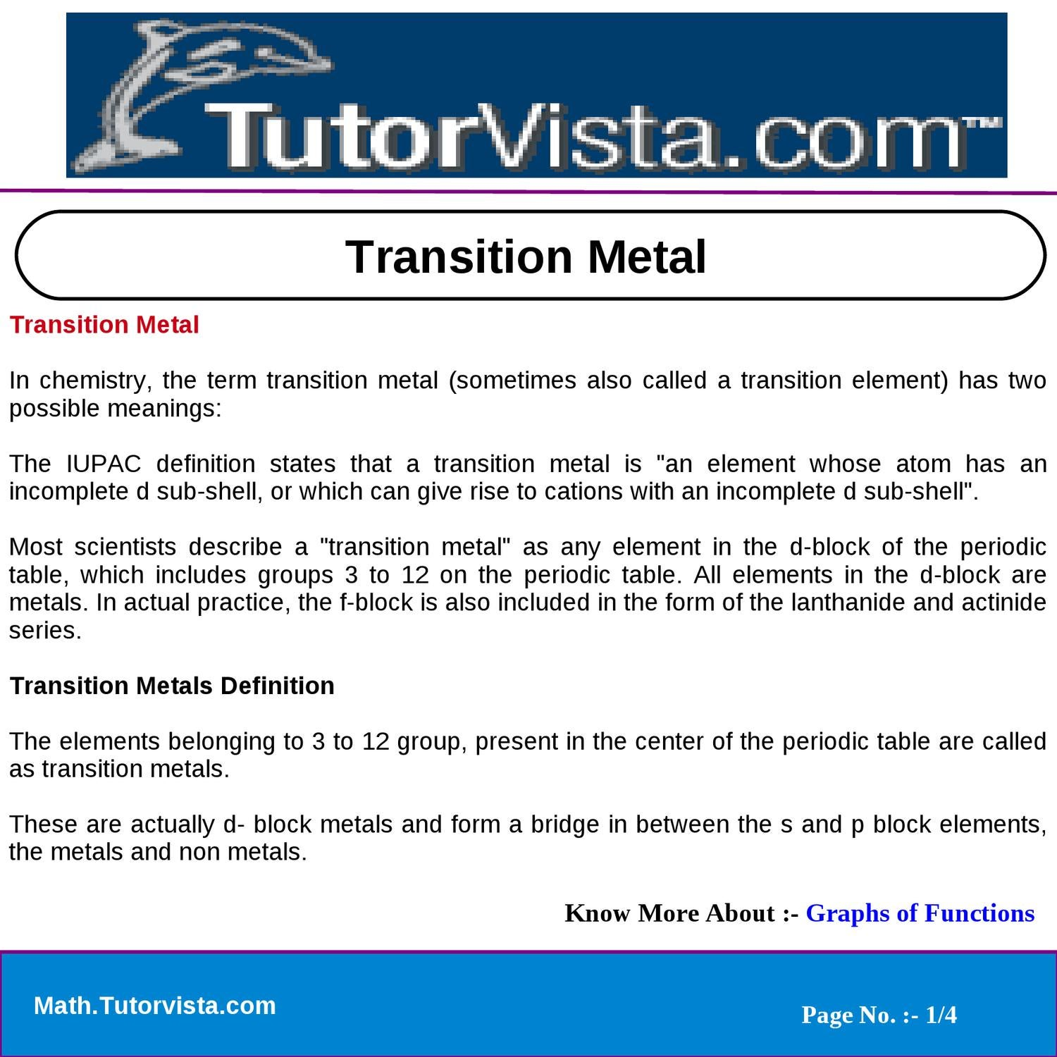 Transition metal by vista team123 issuu urtaz Images