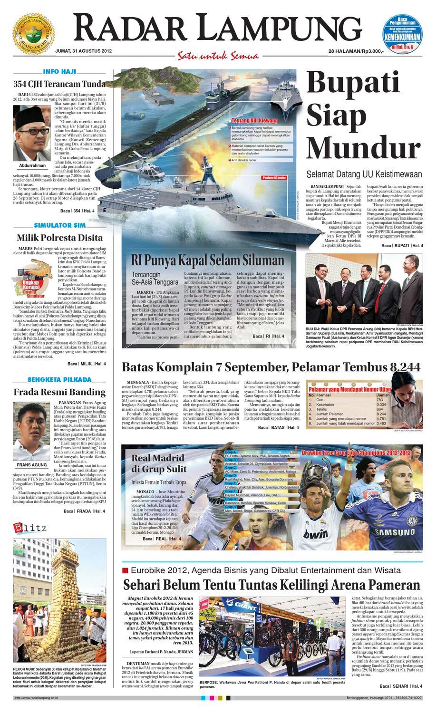 Radar Lampung Selasa 7 Agustus 2012 By Ayep Kancee Issuu Arven 2 Cokelat 40 Jumat 31